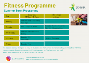 Active Cambria Summer Term Fitness Programme